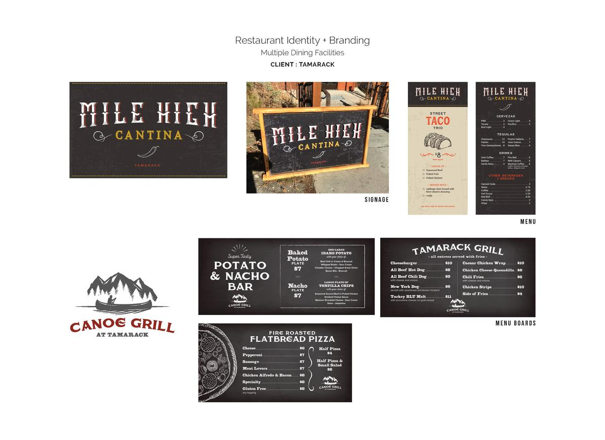 Restaurant Identity   Branding Multiple Dining Facilities CLIENT   TAMARACK  signage  menu  menu boards