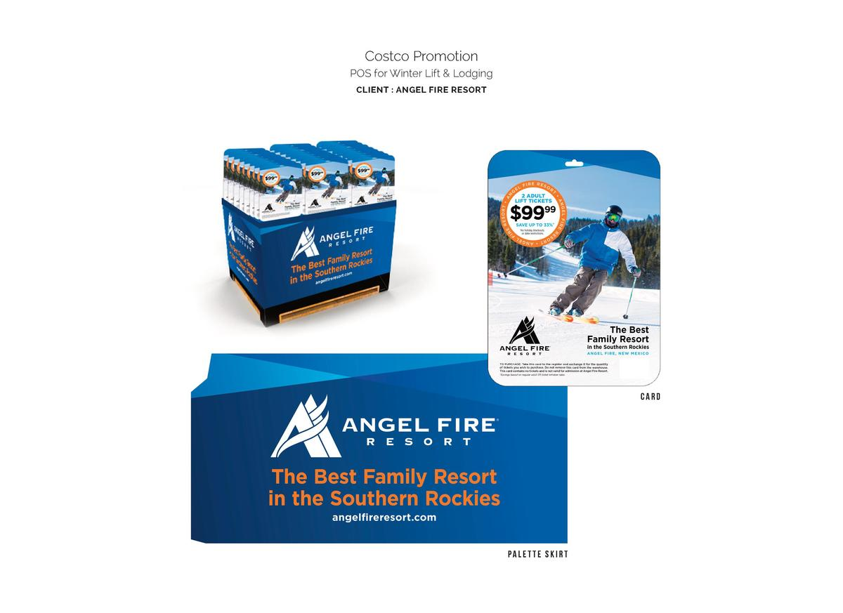 Costco Promotion POS for Winter Lift   Lodging CLIENT   ANGEL FIRE RESORT  card  palette skirt