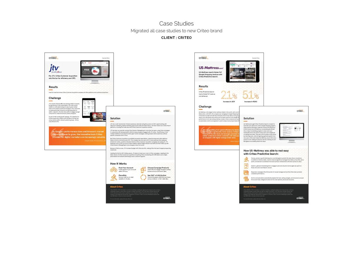 Case Studies Migrated all case studies to new Criteo brand CLIENT   CRITEO  Success Story  Success Story  US-Matttress nea...