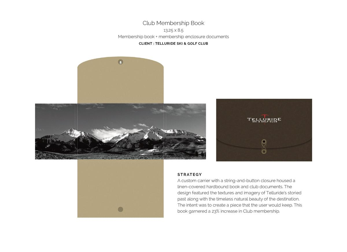 Club Membership Book 13.25 x 8.5 Membership book   membership enclosure documents CLIENT   TELLURIDE SKI   GOLF CLUB  S T ...