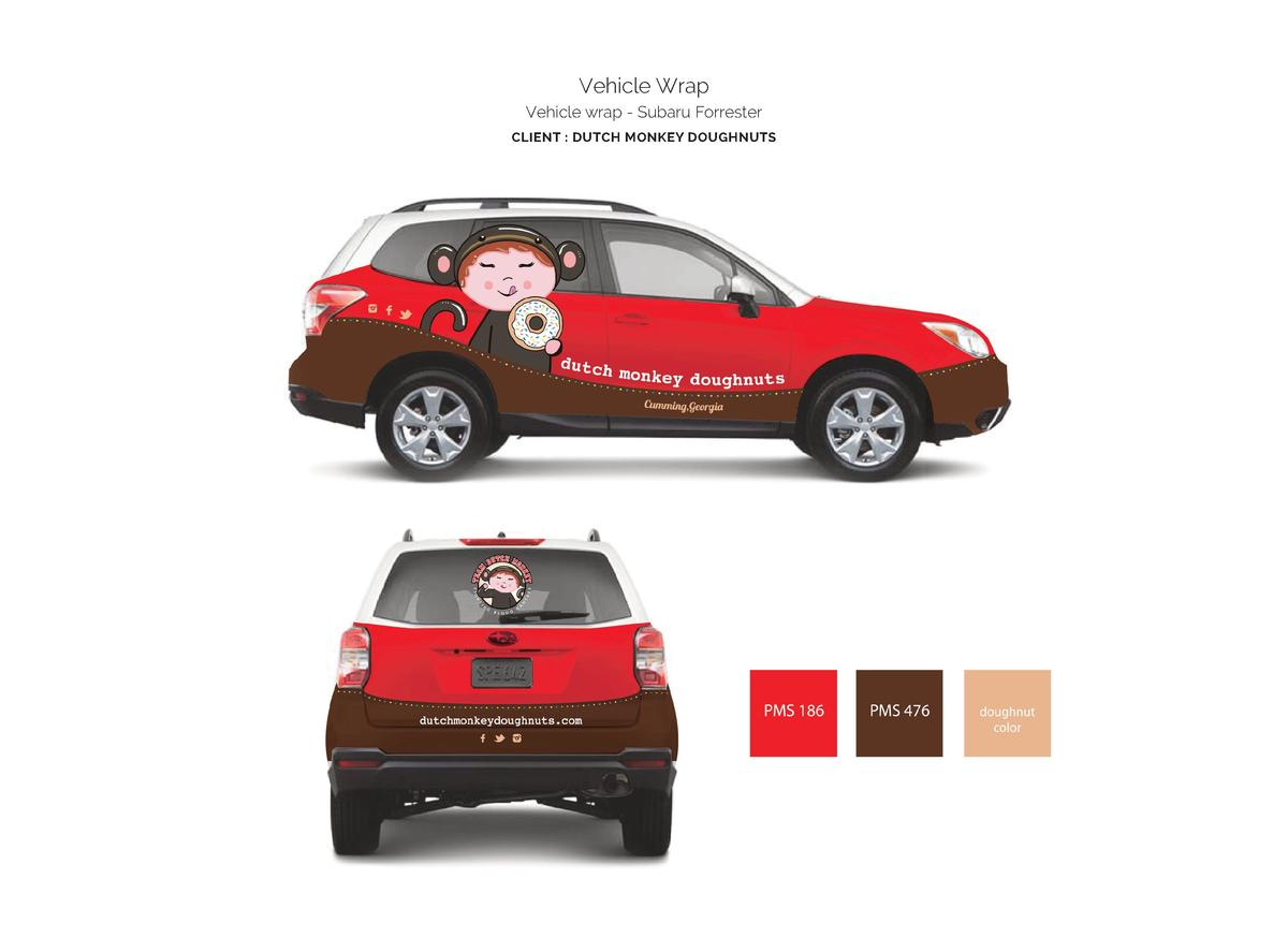Vehicle Wrap Vehicle wrap - Subaru Forrester CLIENT   DUTCH MONKEY DOUGHNUTS