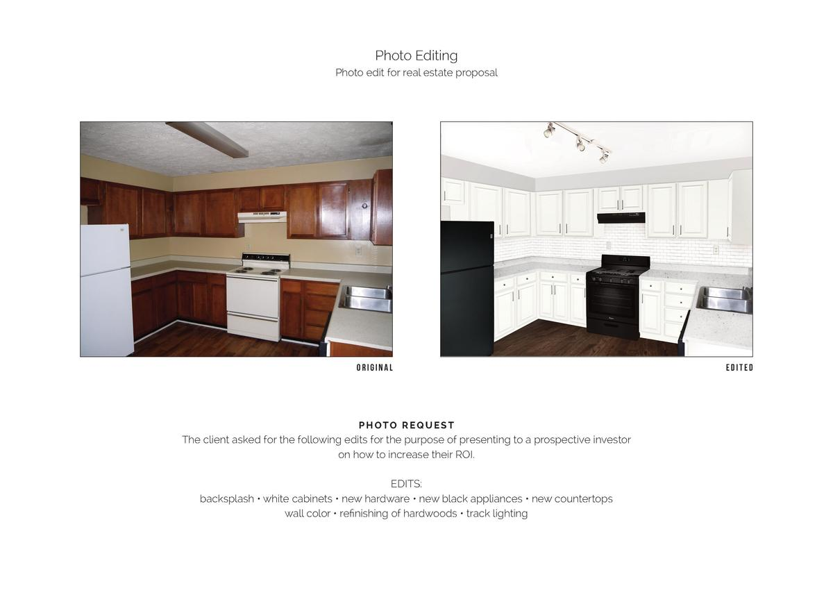Photo Editing Photo edit for real estate proposal  ORIGINAL  PHOTO REQUEST  The client asked for the following edits for t...